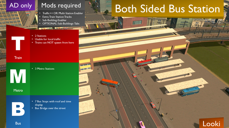 AD Only] Both Sided Bus Station BETA - Cities: Skylines Mod