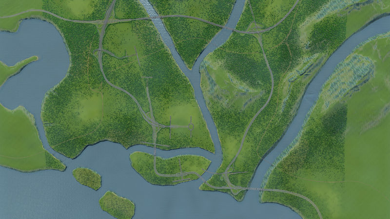 Realistic Highway Network – Islands Map - Cities: Skylines
