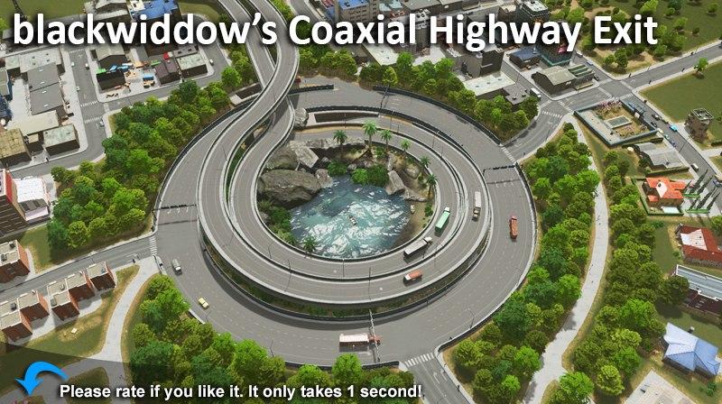 blackwiddow's Coaxial Highway Exit - Cities: Skylines Mod